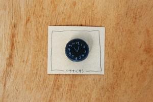 時計のブローチ(紺)