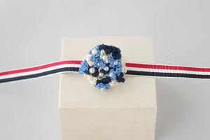 小花の帯留め(ブルー)