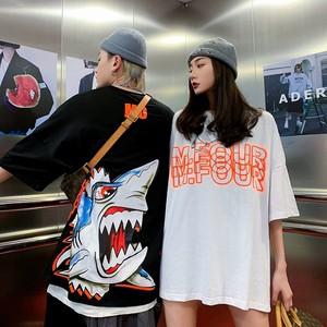 【トップス】ペアルックサメ図柄簡約・シンプルプリント半袖Tシャツ28142200
