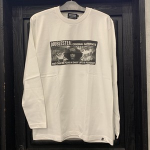 DOUBLE STEAL : HOOD GIRL L/S TEE  /  WHITE