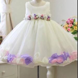 セール!!★カラフル花びら♪ドレス【白】結婚式パーティ