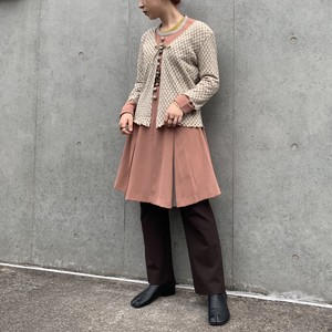 (LOOK) bi-color l/s flare one-piece