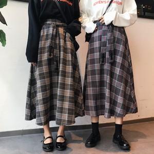 【ボトムス】チェック柄Aラインすね丈スカート15958032