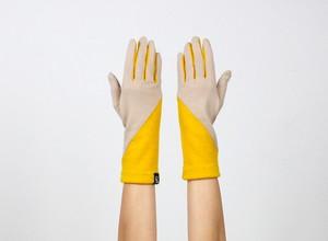 % PERCENT ジャージー 手袋(ベージュ・イエロー)女性用・ウール100%・スマホ対応・縫製手袋