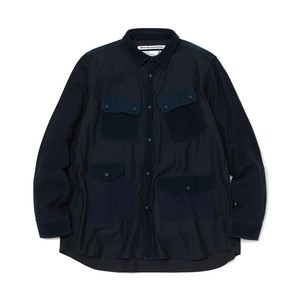 MIXED FABRIC HUNTING SHIRT - NAVY