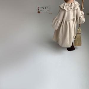 ikii frill sleeve dress フリルスリーブワンピース 韓国子供服 子供服 ワンピース 子供服90 子供服100 (op0042)