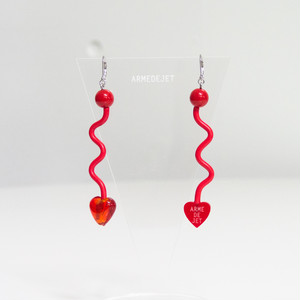 くねくねポップ Pierces / Earrings -memphis red-