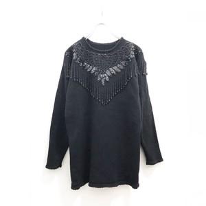 Black Beaded Knit Pullover / ブラックビーズニットプルオーバー