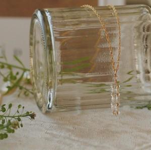 淡水パールとチェコガラスのスクエアモチーフネックレス