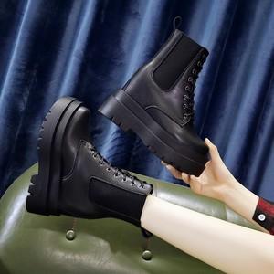 【シューズ】高品質韓国系丸トゥ人気合わせやすいPU厚底ショート丈ブーツ32880614