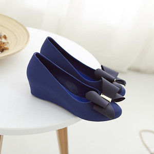 【pumps】2018 summer new bow pointed platform  casual wedge  pumps