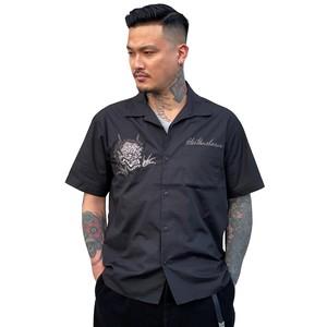 びっくり鬼横振り刺繍オープンカラーシャツ【横振り刺繍】