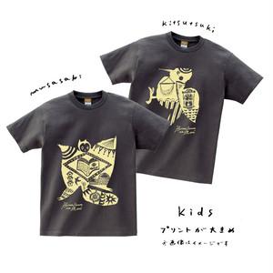 <こども用>むささび/きつつきTシャツ【チャコール】