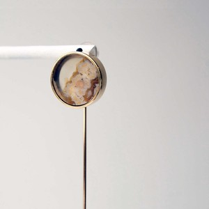 Agate Pierced Earring (Round frame)