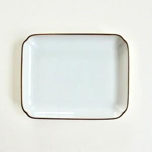 [NO.018] 九谷の白 長方形の皿 / Kutani White Rectangle Plate / Showa Era
