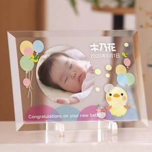 赤ちゃんメモリアルプレート 風船ベビー ガラス製楯 写真印刷 出産祝い 内祝い 両親にお返し 誕生日 ファーストバースデー