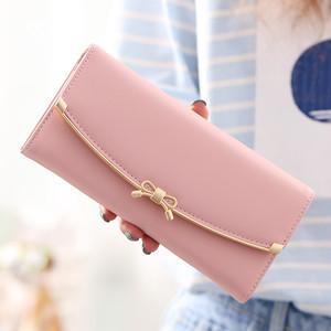 【バッグ・財布】PU無地リボンスウィート財布