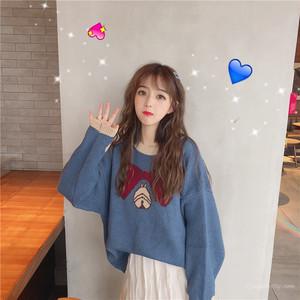 【トップス】秋冬原宿風カートゥーンプリント刺繍ルーズニットセーター