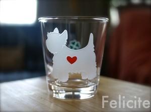 ウエスティ彫刻グラス(ハート&クローバー)