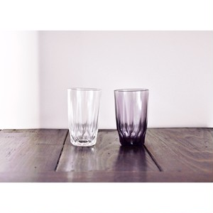【 レトロガラスコップ 2点set 】透明 薄紫 昭和