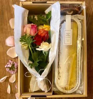 薔薇のプチブーケとチーズケーキ・シトロンBOX
