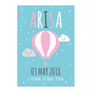 Baby Poster A4サイズ(21×29.7cm)気球グリーン  ポスター プレゼント お祝い 出産祝い ベビーポスター お誕生日 青い鳥 命名ポスター