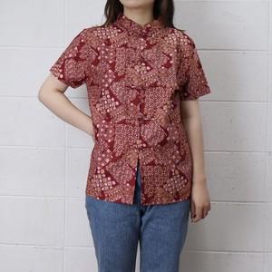 レディース BALI製 チャイナブラウス カンフーシャツ アメリカ 古着 ワインレッド 日本M