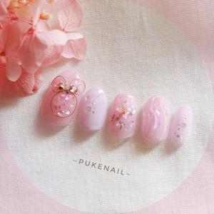 Pukeネイル[No.402]シェル・可愛いピンクふんわりネイルチップ/結婚式/デート