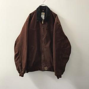 Carhatt オーバーサイズ ペイント ダックジャケット 裏ボア 煉瓦色 メンズ 古着