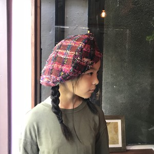 Kid's Big Beret -Red check-