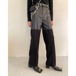 half leather loose pants