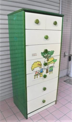レトロなイラスト入りタンス【7段/グリーン】(0911101YC)