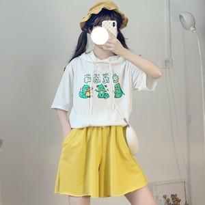 【トップス】日系少女恐竜プリントフード付きTシャツ