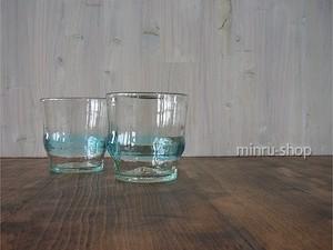 ロックグラスペア 琉球ガラスのペアグラス スカイ帯グラス 稲嶺盛吉