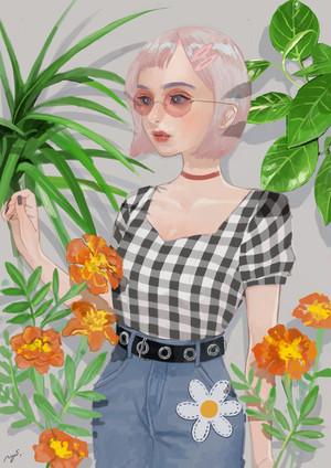 GIRL&FLOWER_PANEL【キャンバスアート】
