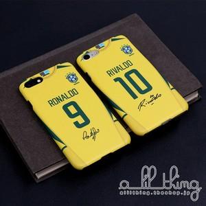 「WC2002」ブラジル 日韓W杯 ワールドカップ 復刻ユニフォーム ロナウド リバウド サイン入り iPhoneXS iPhone8 ケース