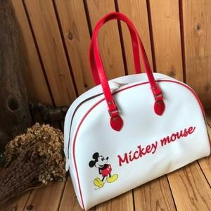 ≫Disneyディズニーミッキーマウス*ボストンバッグ旅行鞄かばんスポーツバッグ*ホワイト×レッド*マディソン*マジソンバック*ヴィンテージ