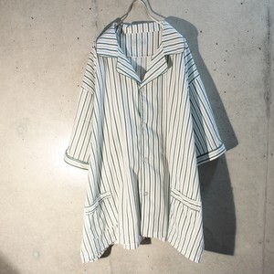 Short sleeve cotton stripe pajama shirt