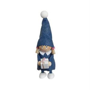 プレゼントを持った青い服の女の子/NORDIKA nisse/デンマーク