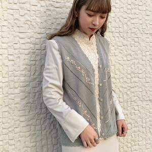 (LOOK) flower embroidery vest