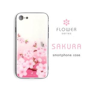 桜 ハードiPhoneケース(強化ガラス)[大きいサイズ]*木のぼり猫とメジロ*