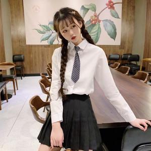 【トップス】韓国系キャンパス長袖スウィートシャツ+チェック柄ネクタイ
