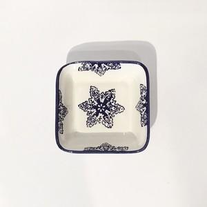 小皿 (正方形) ブルーxホワイト