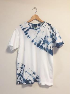 藍染半袖Tシャツ(男女兼用M 上下大蜘蛛絞り)