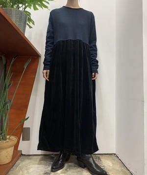 deadstock Erika border rib knit swiching velours maxi one-piece【L】