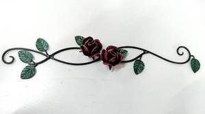 ☆<受注製作>☆送料無料☆カラー変更OK☆ロートアイアン☆薔薇の壁飾りB☆ <アンティークレッド>