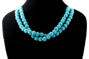ラインストーンパヴェボールネックレス pve-neckturquoiseblue51 ターコイズブルー パヴェ キラキラ
