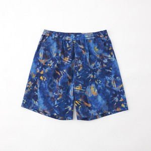 TIE DYE PRINTED STRETCHED EASY SHORT PANTS - BLUE