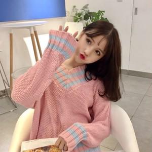 【トップス】スウィート秋冬配色カジュアル学園風キュート少女Vネック長袖セーター