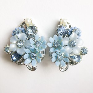 """ART"" blue flower earring[e-1190]"